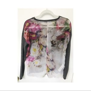 Tops - Floral sheer back stunner sweater SZ S